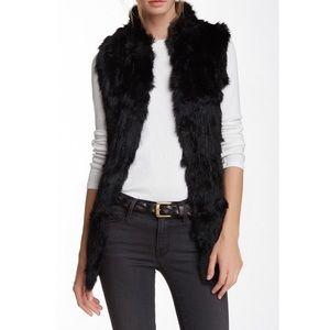 Black Real & Faux Fur Longline Vest